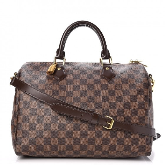 Louis Vuitton Speedy Bandouliere Damier Ebene With Accessories 30 Brown
