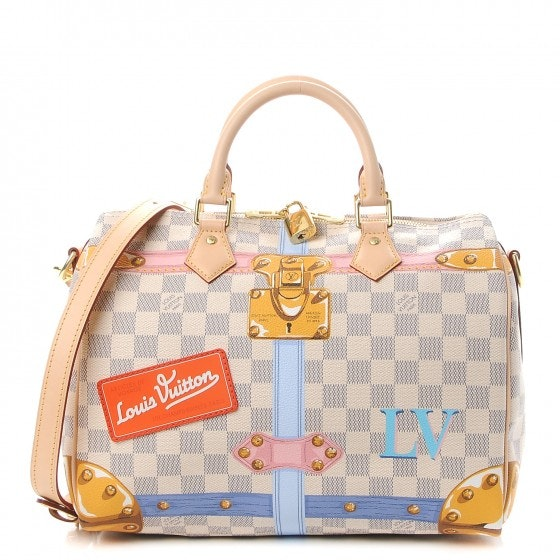 Louis Vuitton Speedy Bandouliere Damier Azur Summer Trunk Collection 30 White/Blue/Orange