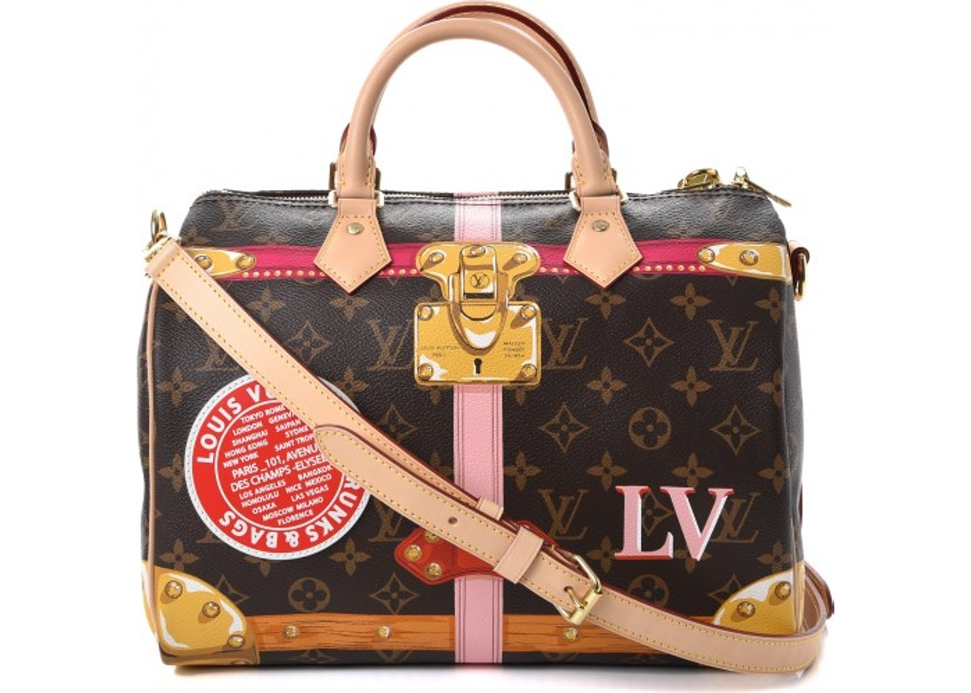 ce3ce1f4e6d5 Louis Vuitton Speedy Bandouliere Summer Trunks Monogram With Strap 30  Brown Pink Gold. Monogram With Strap 30 Brown Pink Gold