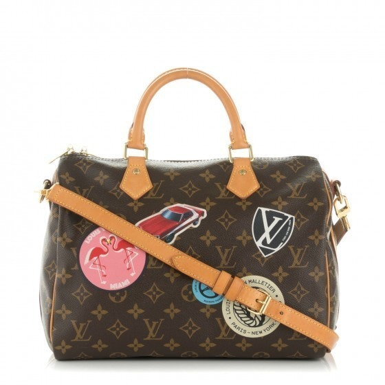 Louis Vuitton Speedy Bandouliere Monogram World Tour Stickers 30 Brown