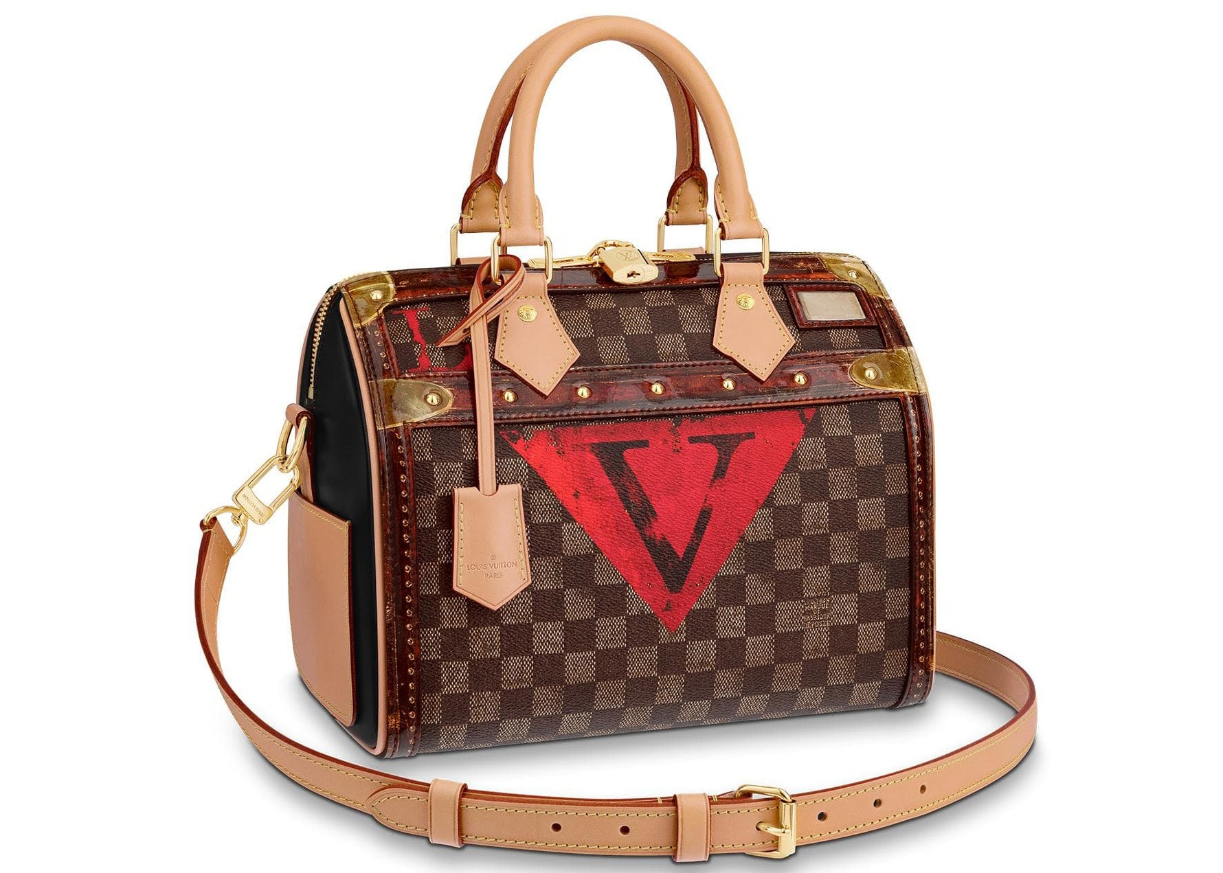 Louis Vuitton Speedy Bandourliere Damier Ebene Painterly Stickers 25 Brown Multicolor