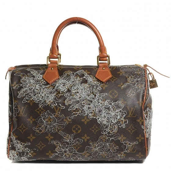 Louis Vuitton Speedy Monogram Dentelle Silver 30 Brown/White/Silver