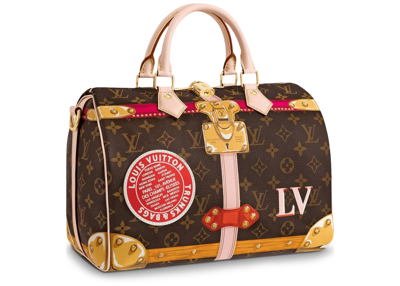 abeb57d50851 Monogram Summer Trunk Collection 30 Brown Pink Red (Without Strap)
