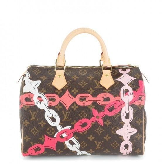 Louis Vuitton Speedy Monogram Rose Ballerine Chain Flower Print 30 Brown