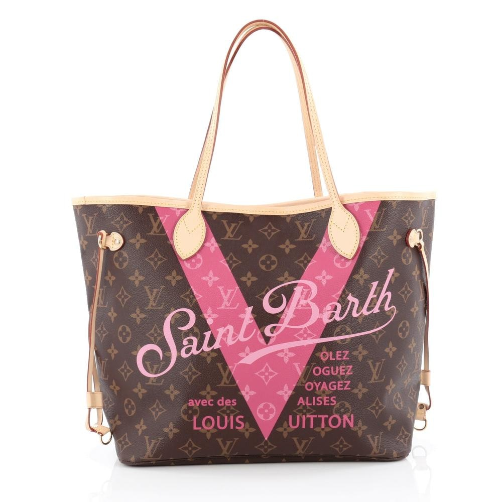 Louis Vuitton Tote Neverfull Cities V Monogram MM Brown/Pink
