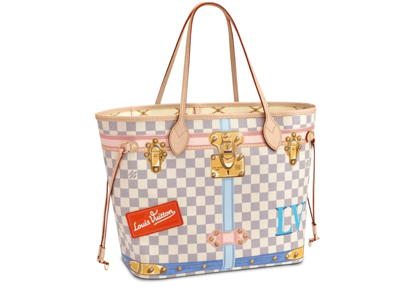 ab338fbb6ad02 Louis Vuitton Tote Neverfull Damier Azur Summer Trunk Collection MM