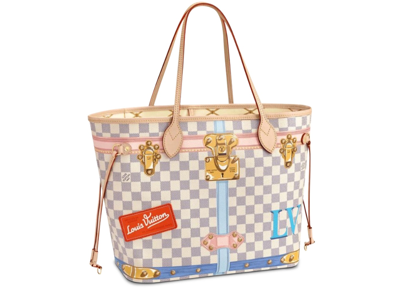 755aee0a889 Louis Vuitton Neverfull Damier Azur Tromp L'oeil Screen (Without Pouch) MM  Beige Lining