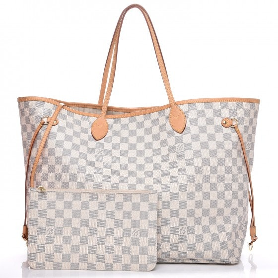 Louis Vuitton Neo Neverfull (With Pouch) Damier Azur GM Beige