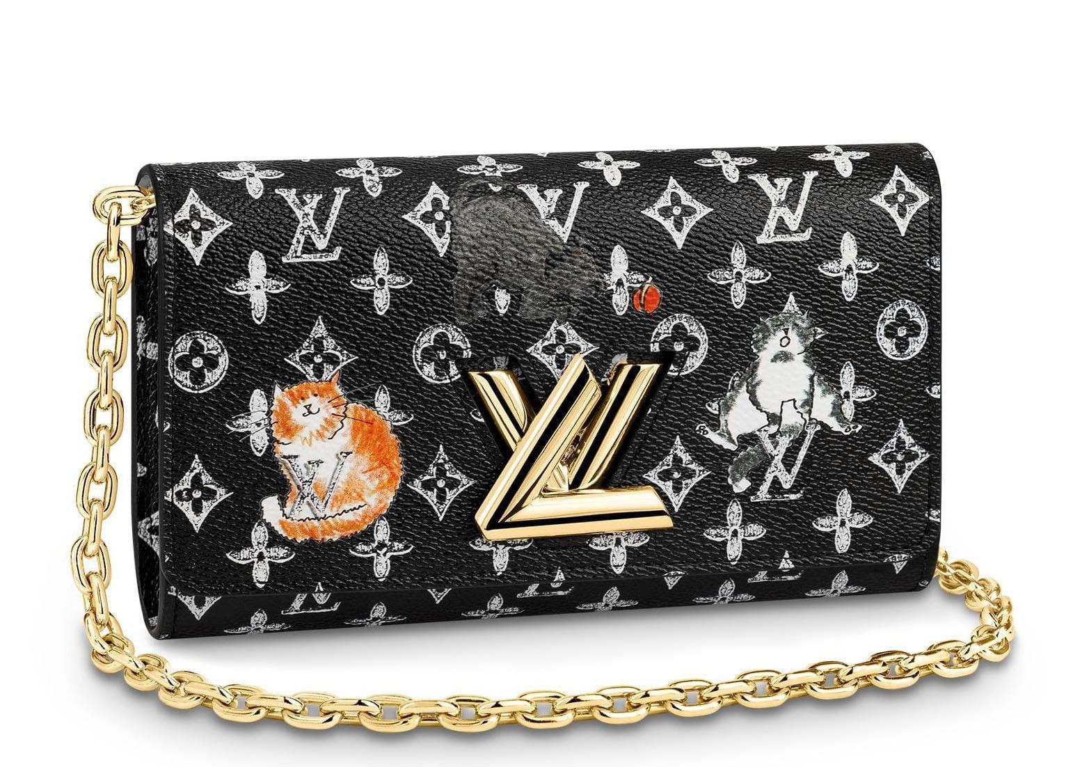 Louis Vuitton Twist Chain Wallet Monogram Catogram Black/White