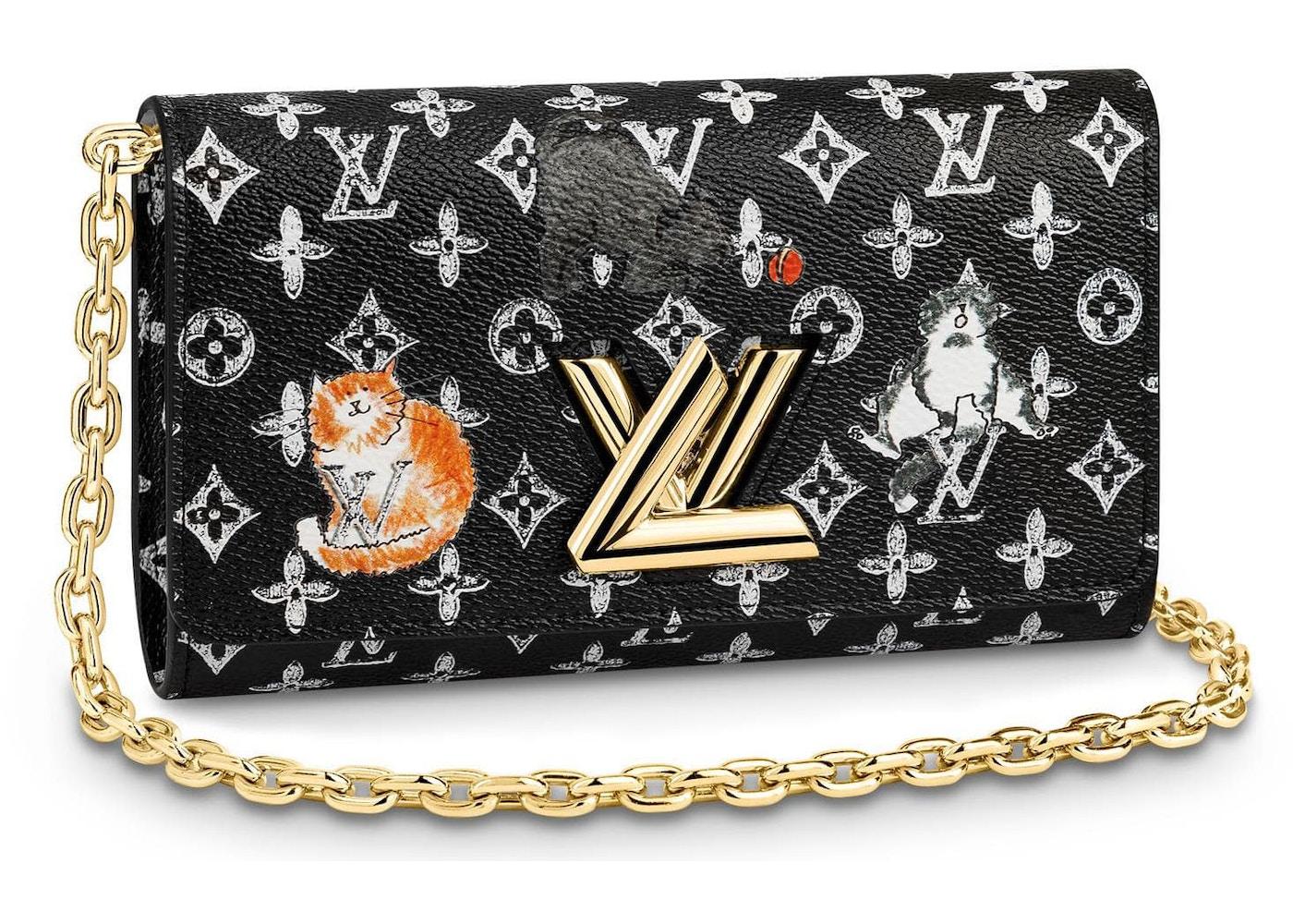 719fd7505d Louis Vuitton Twist Chain Wallet Monogram Catogram Black/White