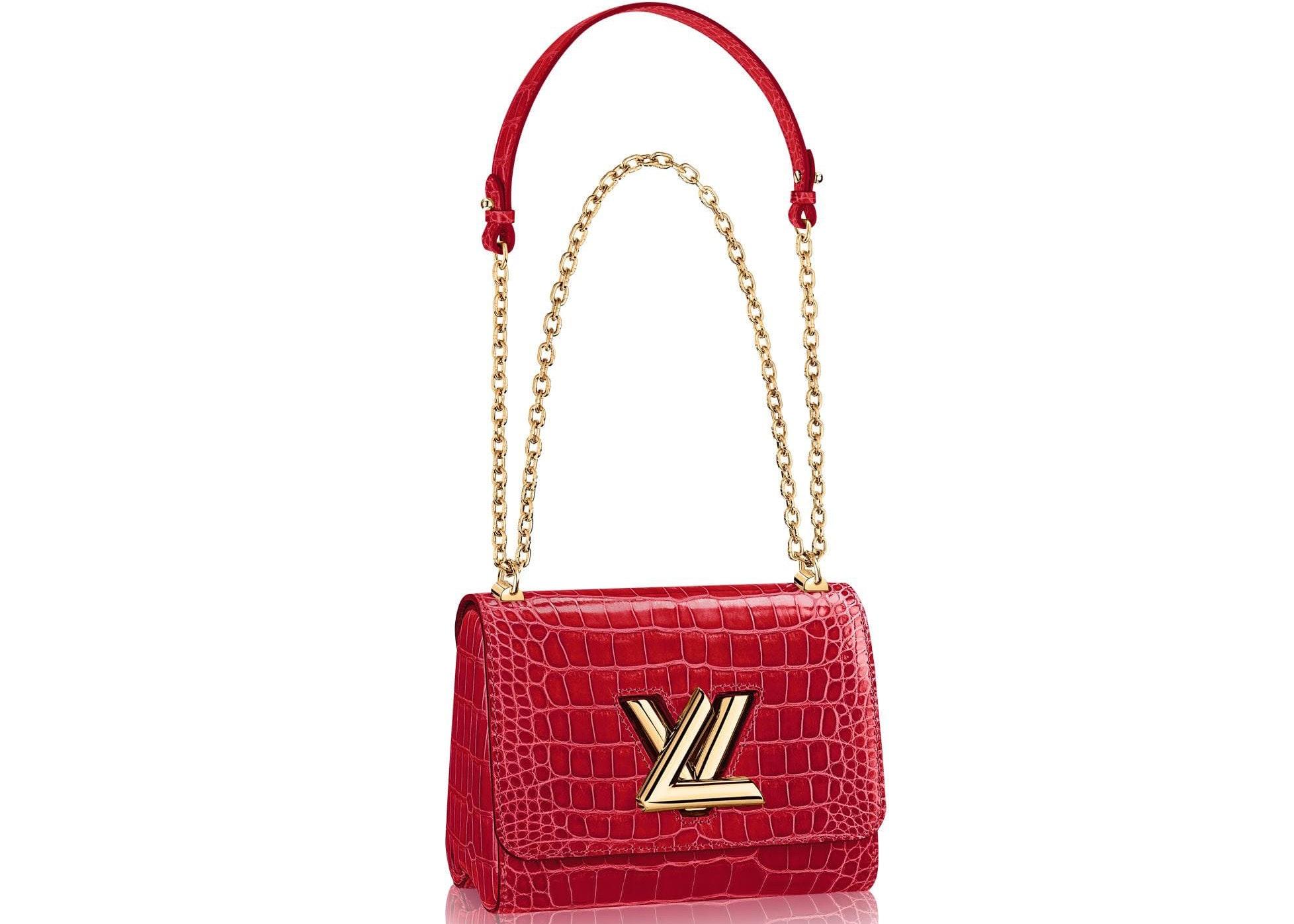 Louis Vuitton Twist Crocodile Brillant Gold-tone PM Cherry