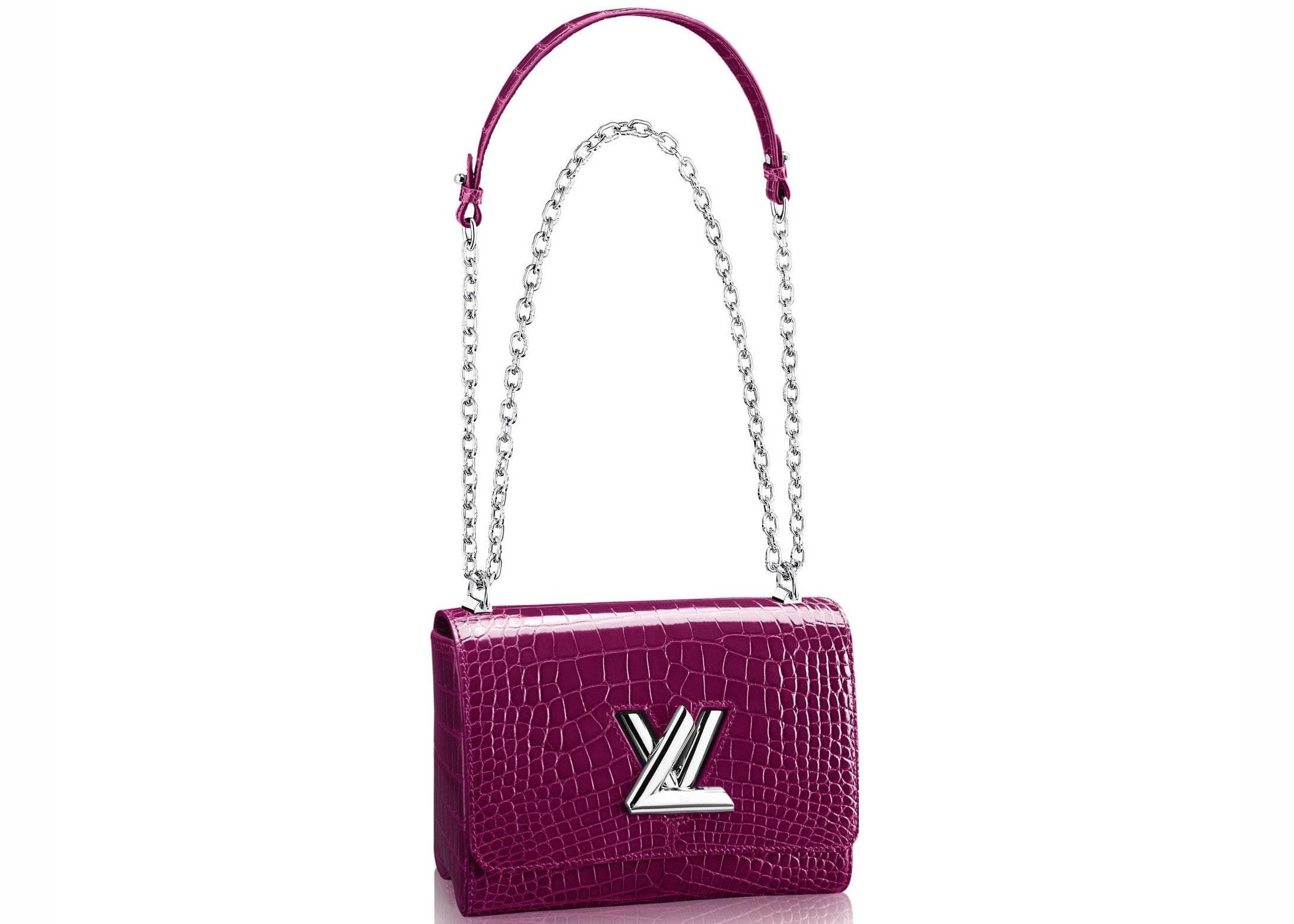 Louis Vuitton Twist Crocodile Brillant Silver-tone MM Raisin