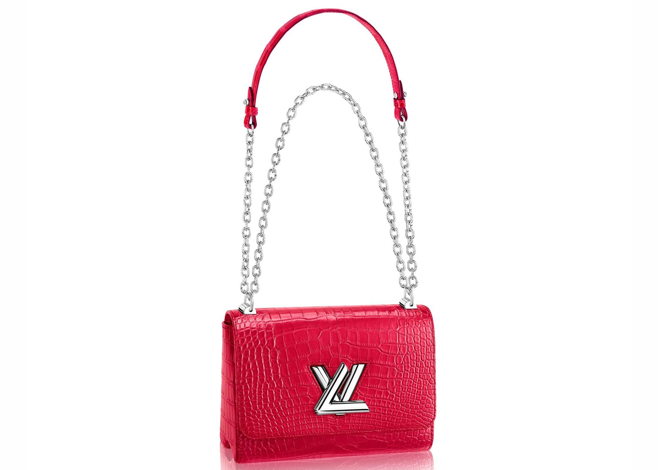 Louis Vuitton Twist Crocodile Brillant Silver-tone MM Rose Spinelle
