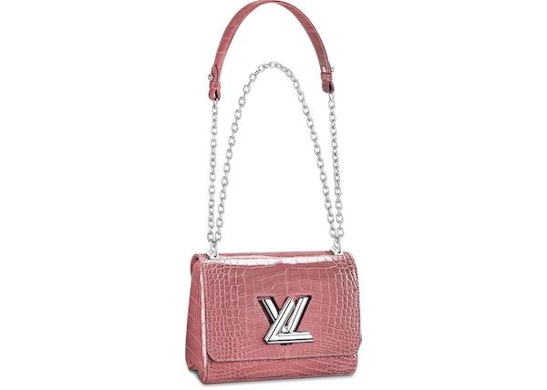 51e0e287eb69 Louis Vuitton Twist Crocodile Brillant Silver-tone PM Rose Tourmaline