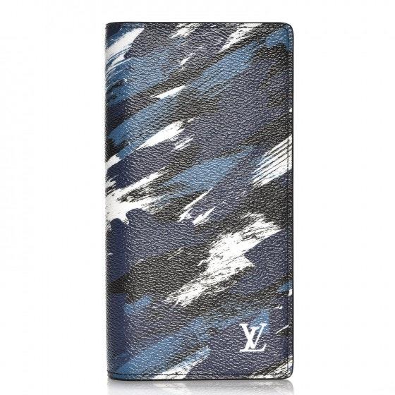 Louis Vuitton Wallet Brazza Camouflage Brushstroke Printed Bleu/White