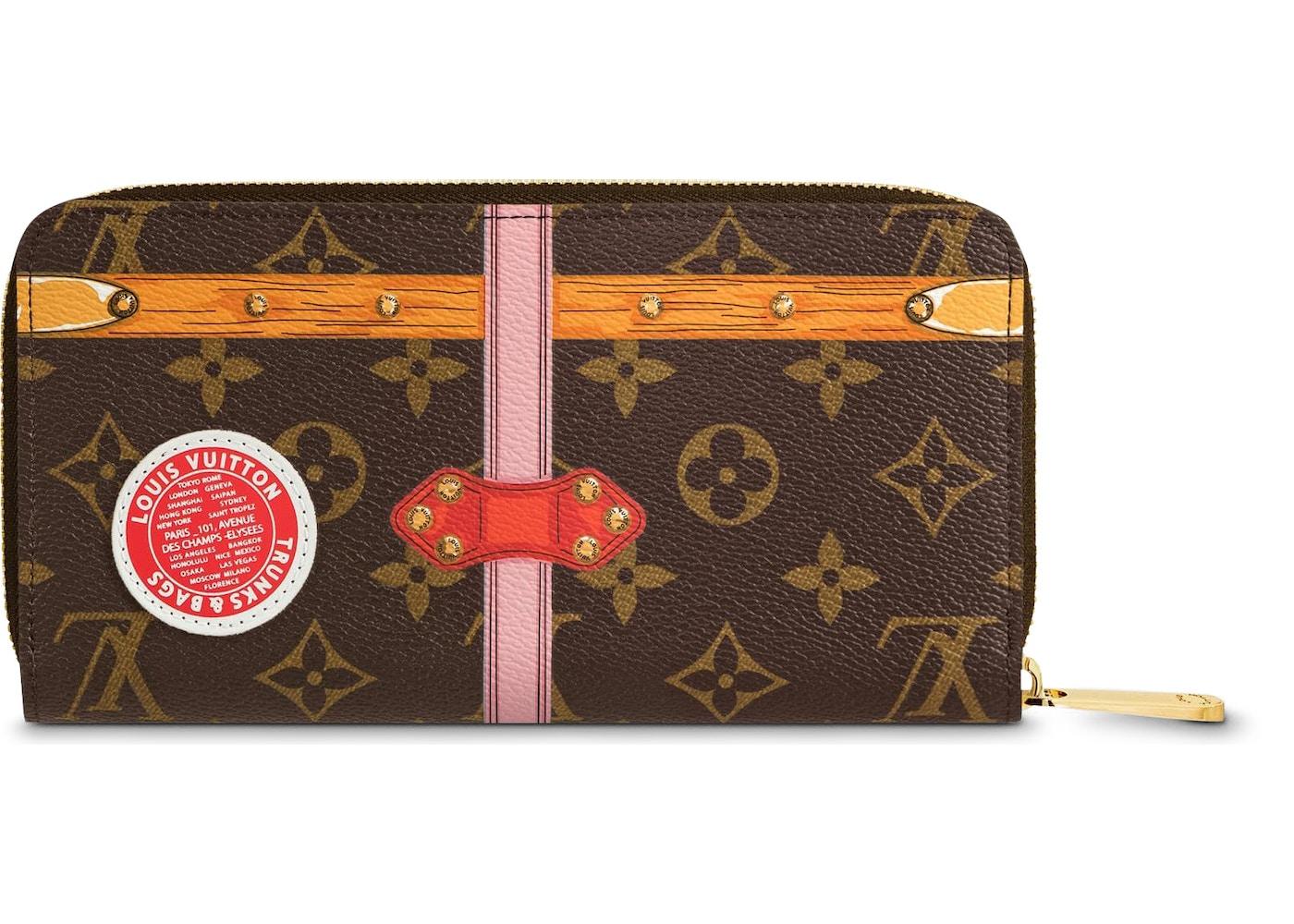 ad5dc902c70 Louis Vuitton Wallet Zippy Monogram Summer Trunk Collection Brown Pink