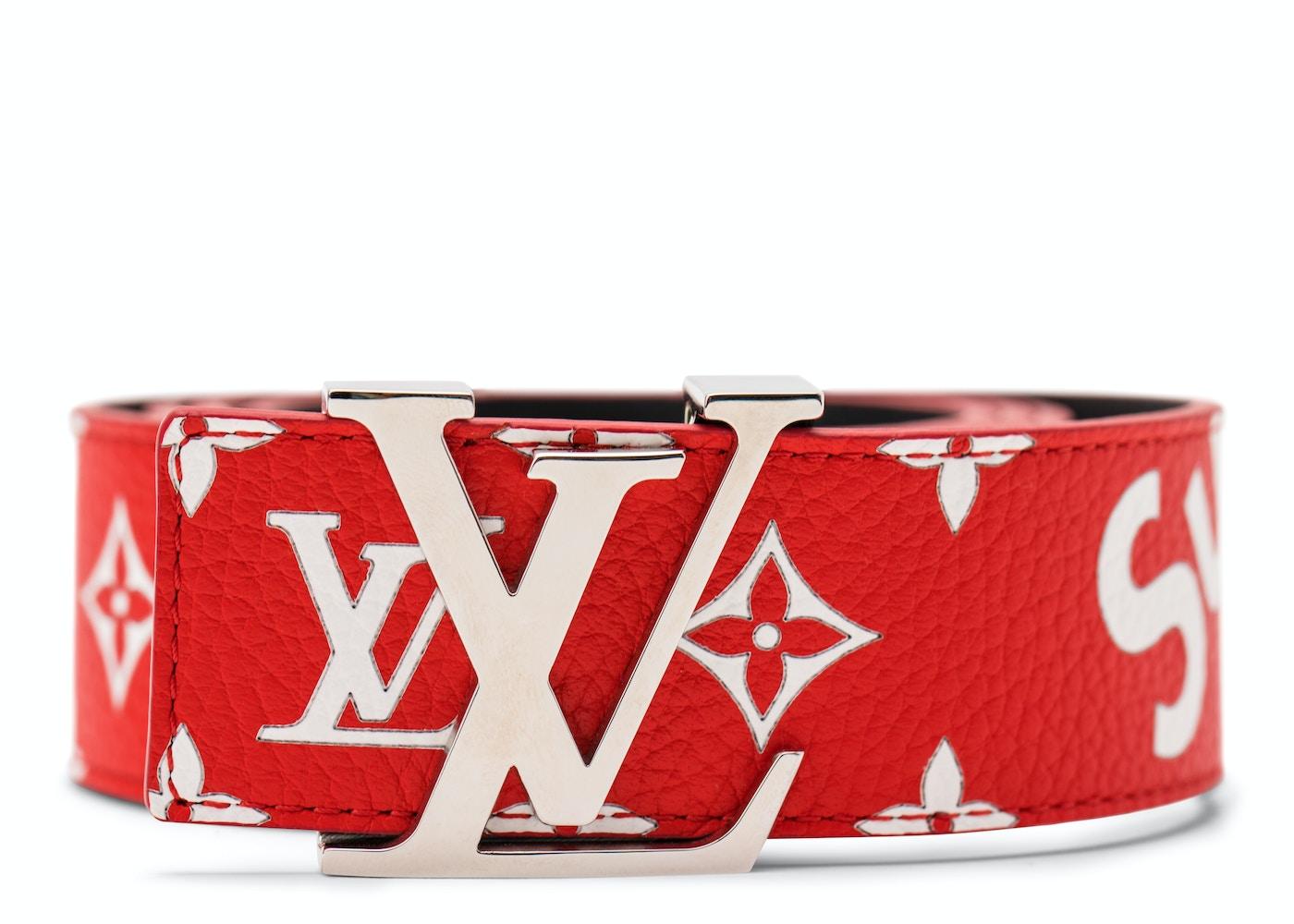 miglior servizio ddbc3 ae777 Louis Vuitton x Supreme Initiales Belt 40 MM Monogram Red