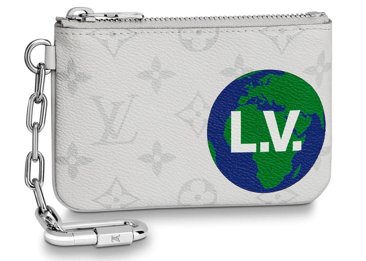 Louis Vuitton Zipped Pouch Monogram Logo Story PM White
