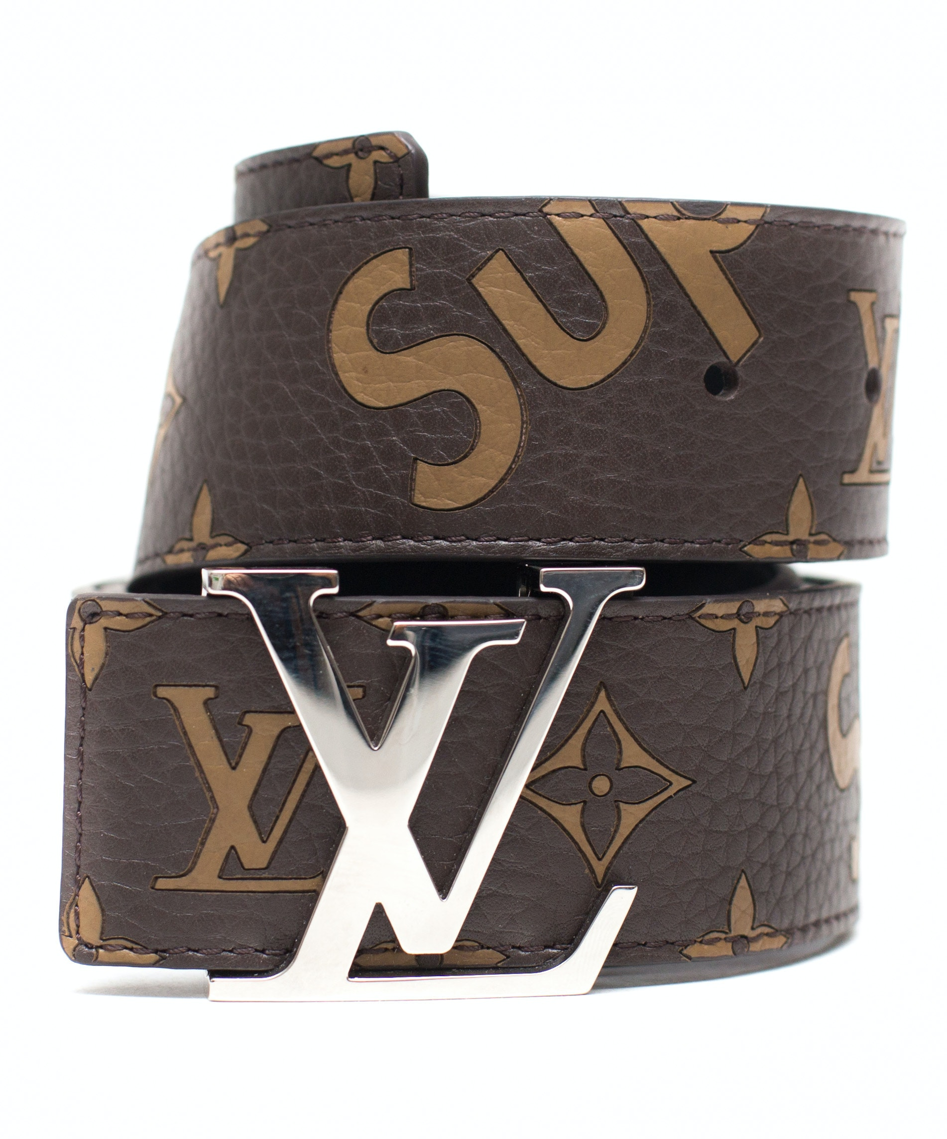 Louis Vuitton x Supreme Initiales Belt 40 MM Monogram Brown Silver