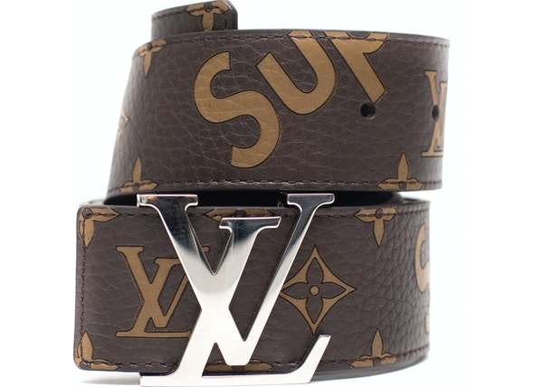 85189a80 Louis Vuitton x Supreme Initiales Belt 40 MM Monogram Brown Silver