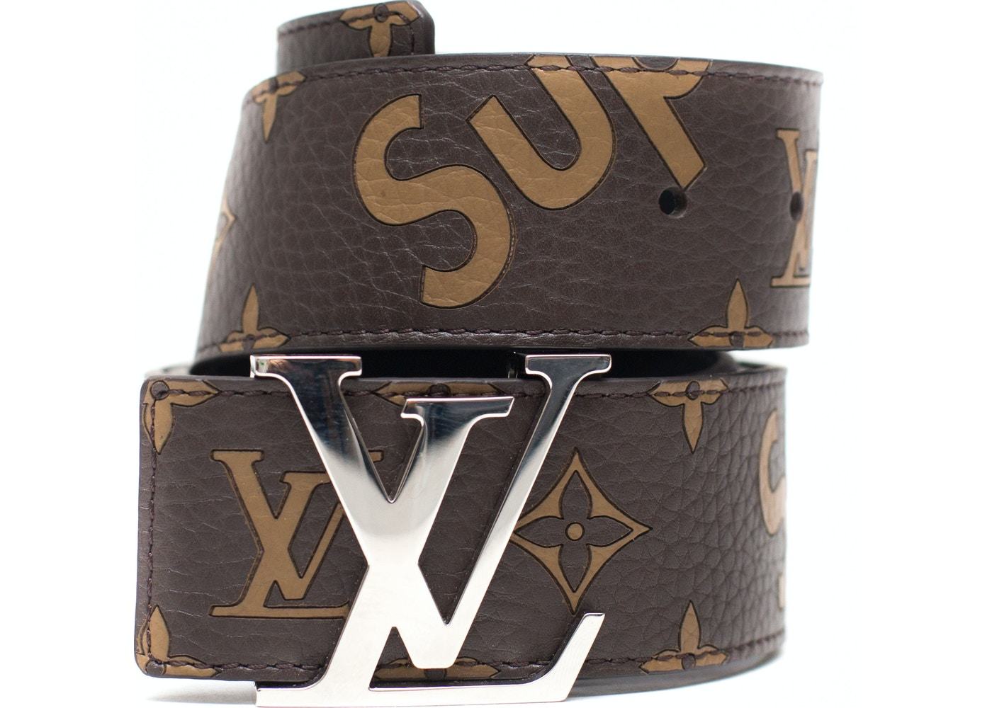6fcd21606407 Louis Vuitton x Supreme Initiales Belt 40 MM Monogram Brown Silver