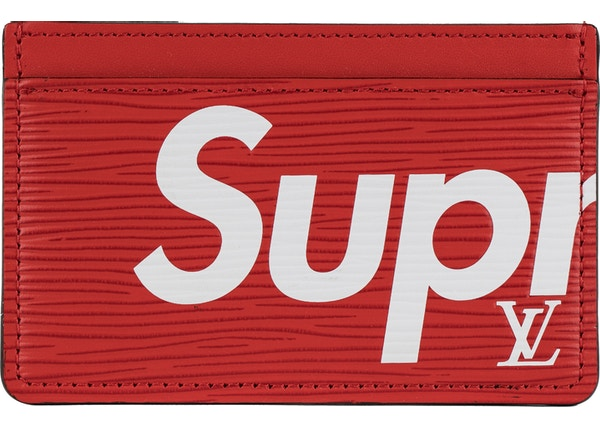 0d80631b889f Louis Vuitton x Supreme Porte Carte Simple Epi Red