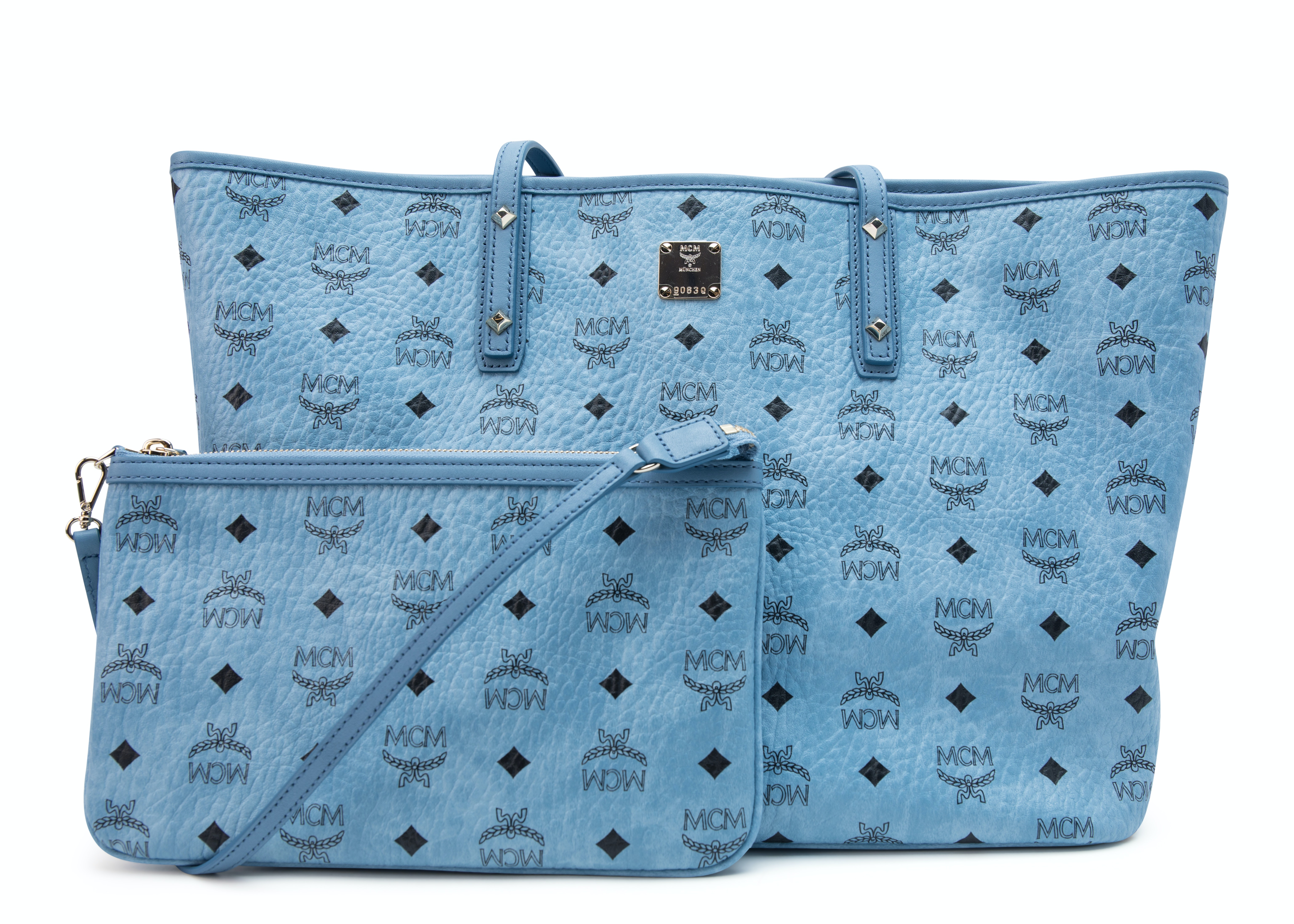 MCM Anya Top Zip Shopper Visetos With Pouch Medium Blue