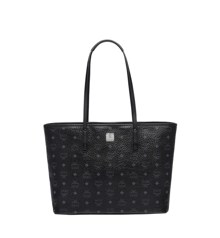 MCM Anya Top Zip Shopper Visetos Without Pouch Medium Black