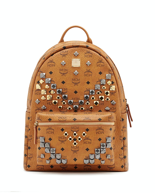 MCM Backpack Visetos M Studded Medium Cognac