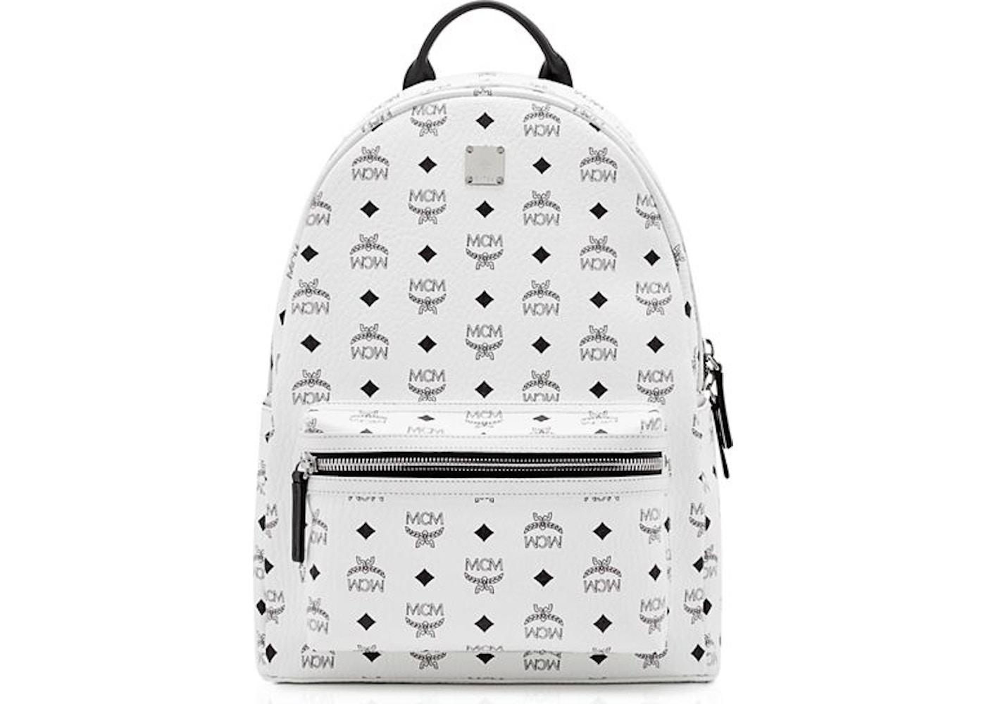 e8dee429360f6 MCM Stark Backpack Visetos Medium White. Medium White