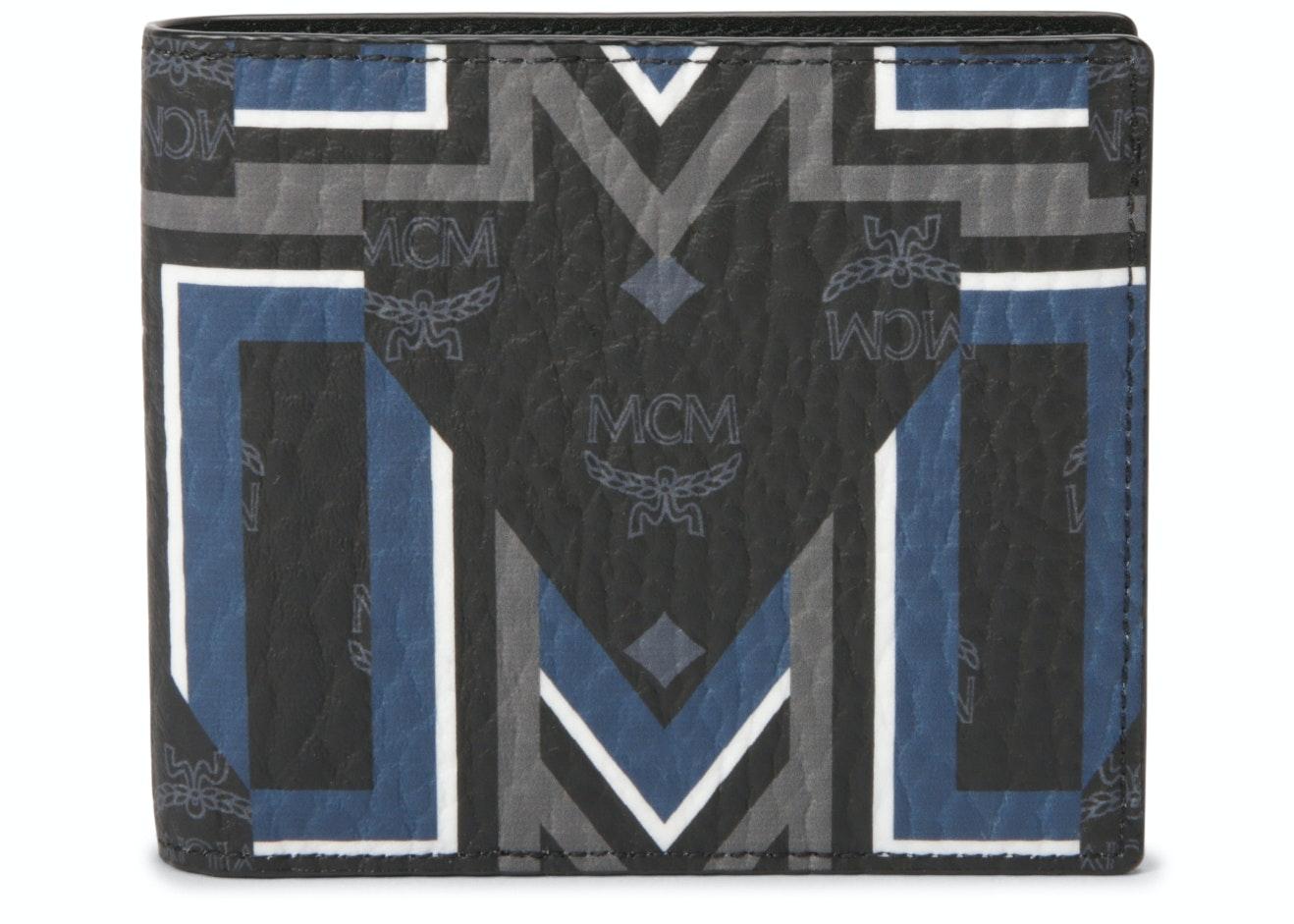 MCM Bifold Wallet Visetos Gunta M Stripes Small Black