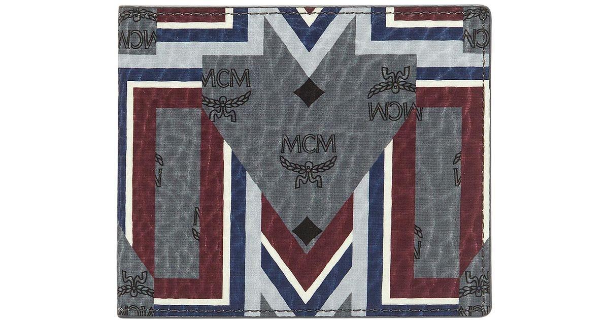 MCM Bifold Wallet Visetos Gunta Stripe Phantom Grey