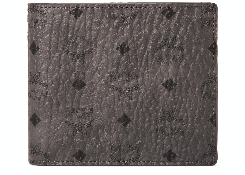 MCM Bifold Wallet Visetos Small Phantom Grey