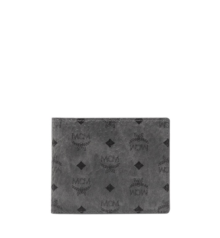 MCM Bifold Wallet Visetos With Card Case Small Phantom Grey