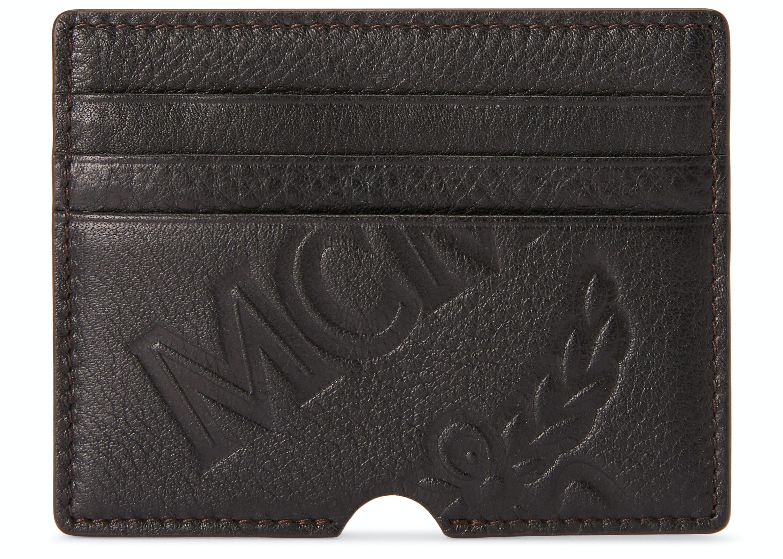 MCM Card Case Embossed Logo Black