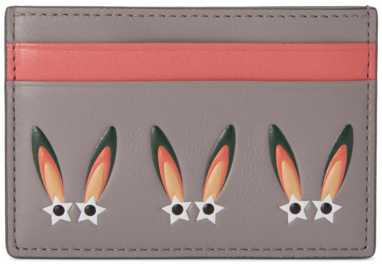 MCM Card Case Star Bunny Grey Pink