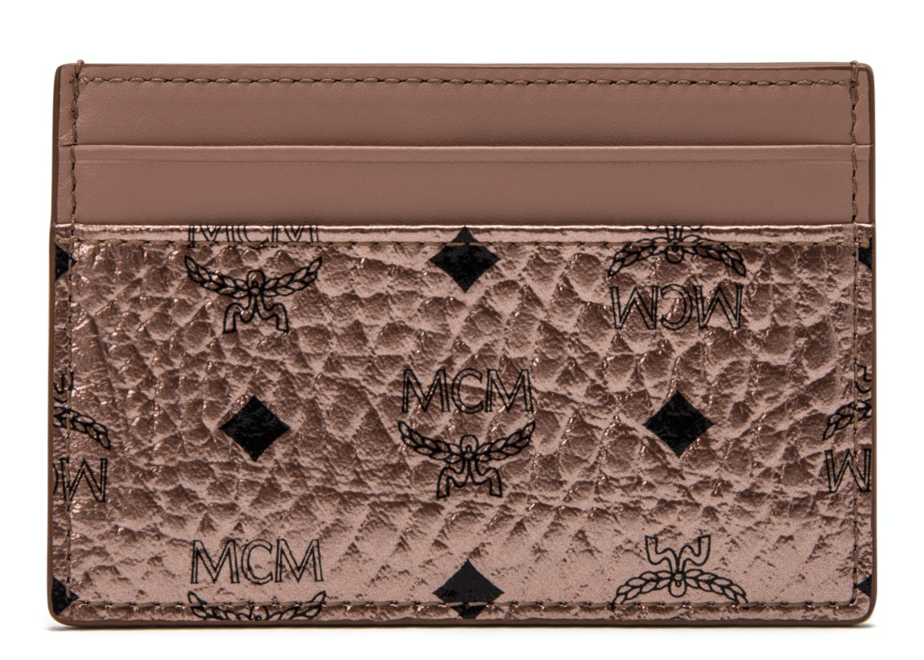 MCM Card Case Visetos Mini Champagne Gold