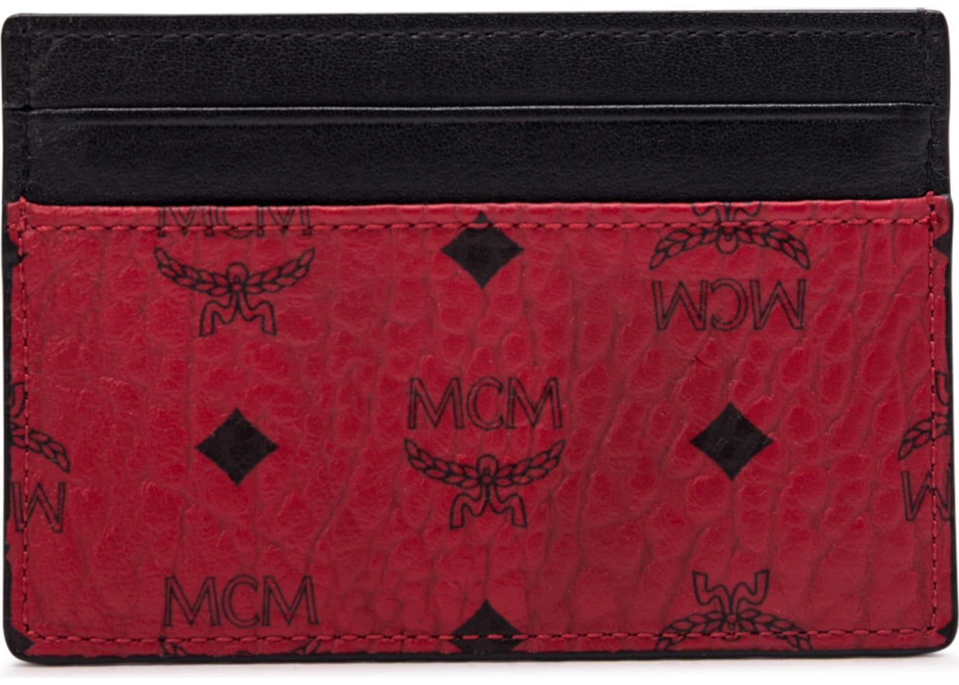 free shipping 22188 47dc4 MCM Card Case Visetos Mini Red/Black