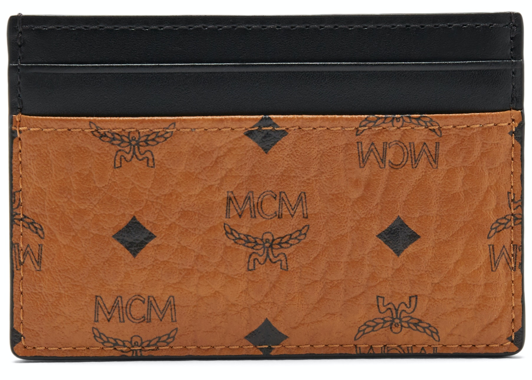MCM Claus Card Case Visetos Cognac/Black