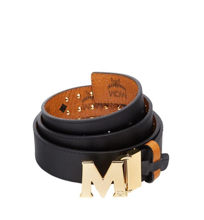 MCM Claus Flat M Belt Visetos Studded Outline 1.5W One Size Cognac
