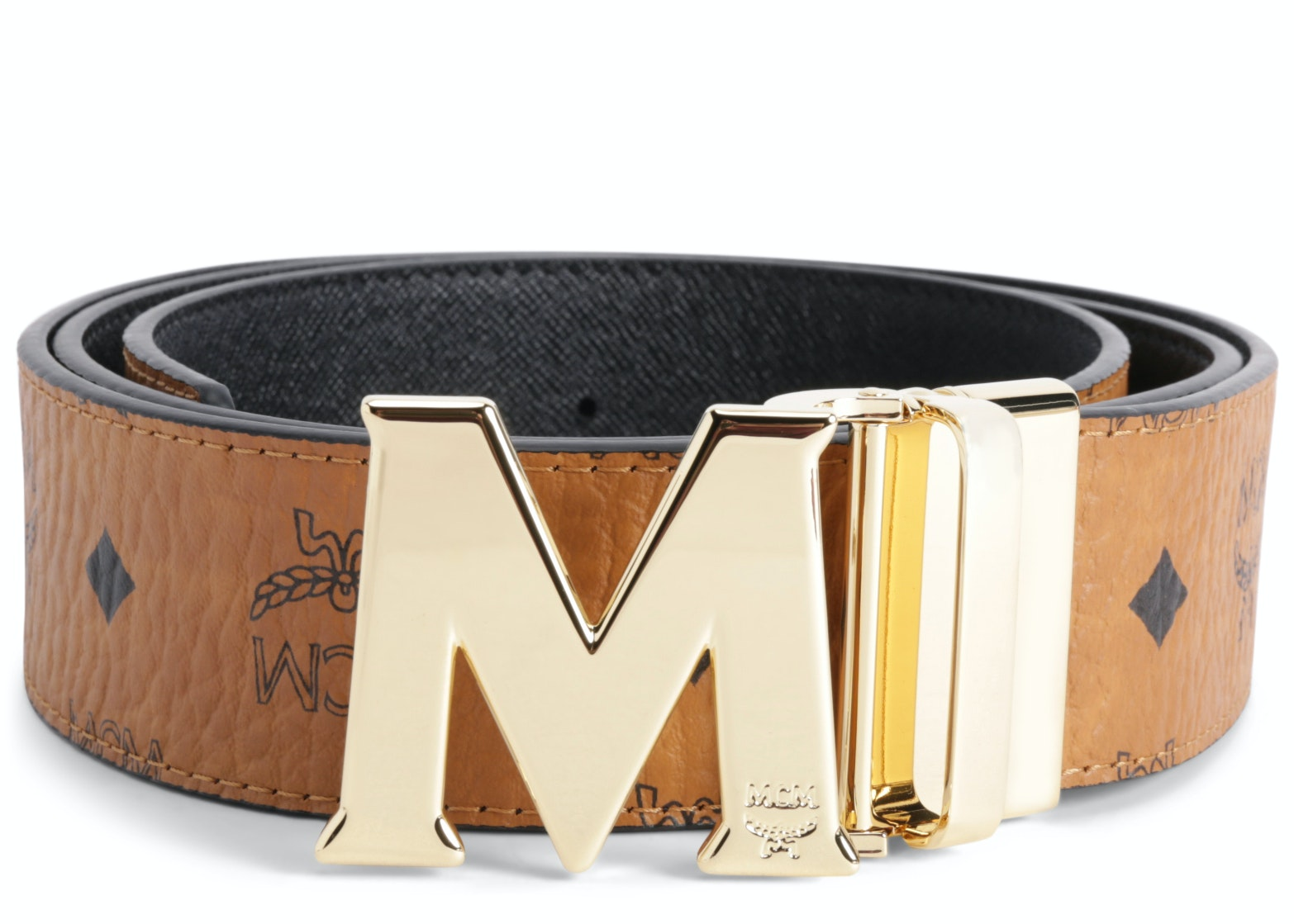 MCM Claus M Reversible Belt Visetos 1.75W 51In/130Cm Cognac