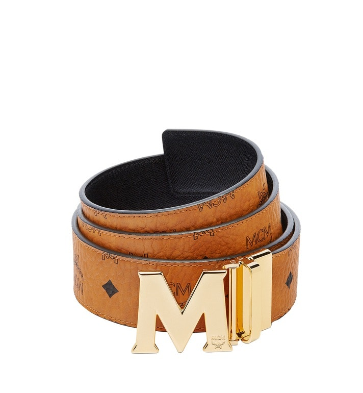 MCM Claus M Reversible Belt Visetos 1.75W 51In/130Cm Cognac