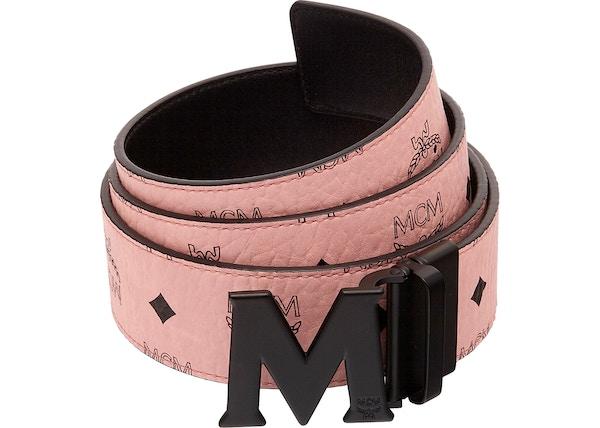 3d6682e51bb MCM Claus M Reversible Belt Visetos 1.75W 51In 130Cm Soft Pink