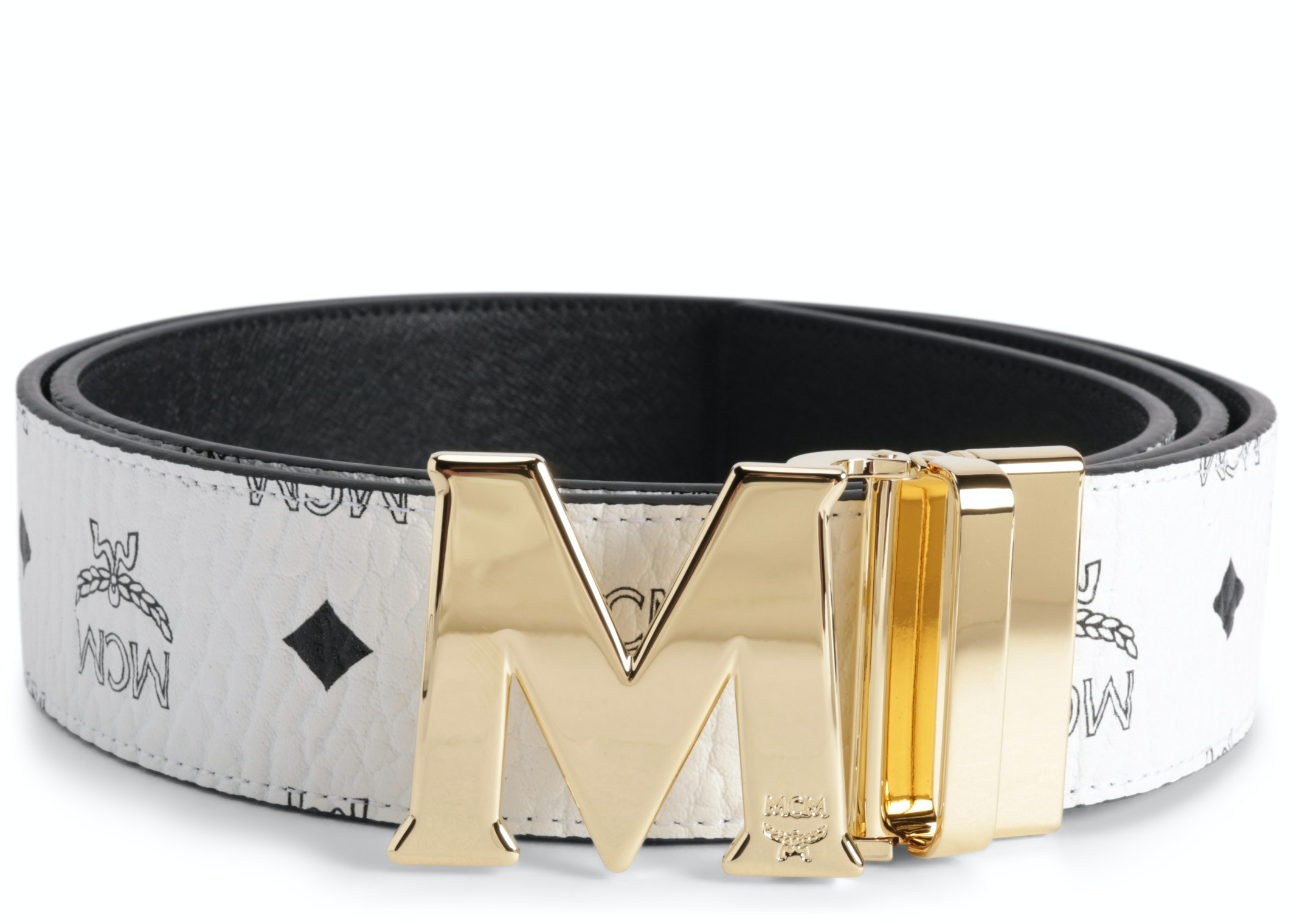 MCM Claus M Reversible Belt Visetos 1.75W 51In/130Cm White