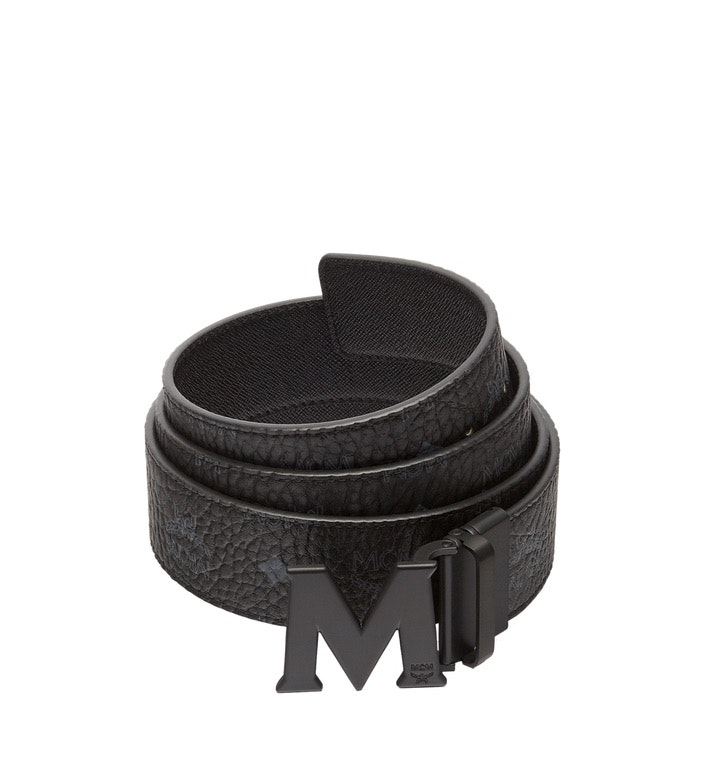 MCM Claus M Reversible Belt Visetos Matte Black-tone 1.75W 51In/130Cm Black