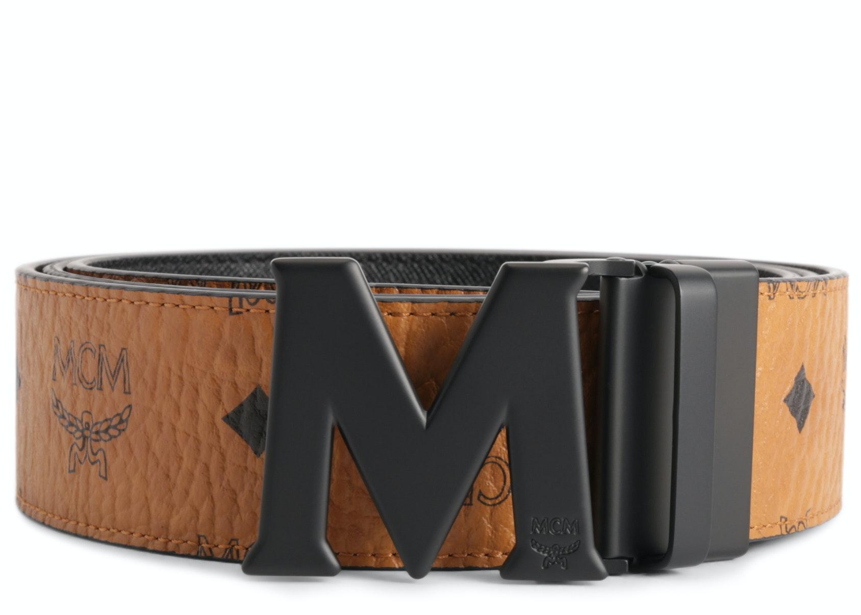 MCM Claus M Reversible Belt Visetos Matte Black-tone 1.75W 51In/130Cm Cognac