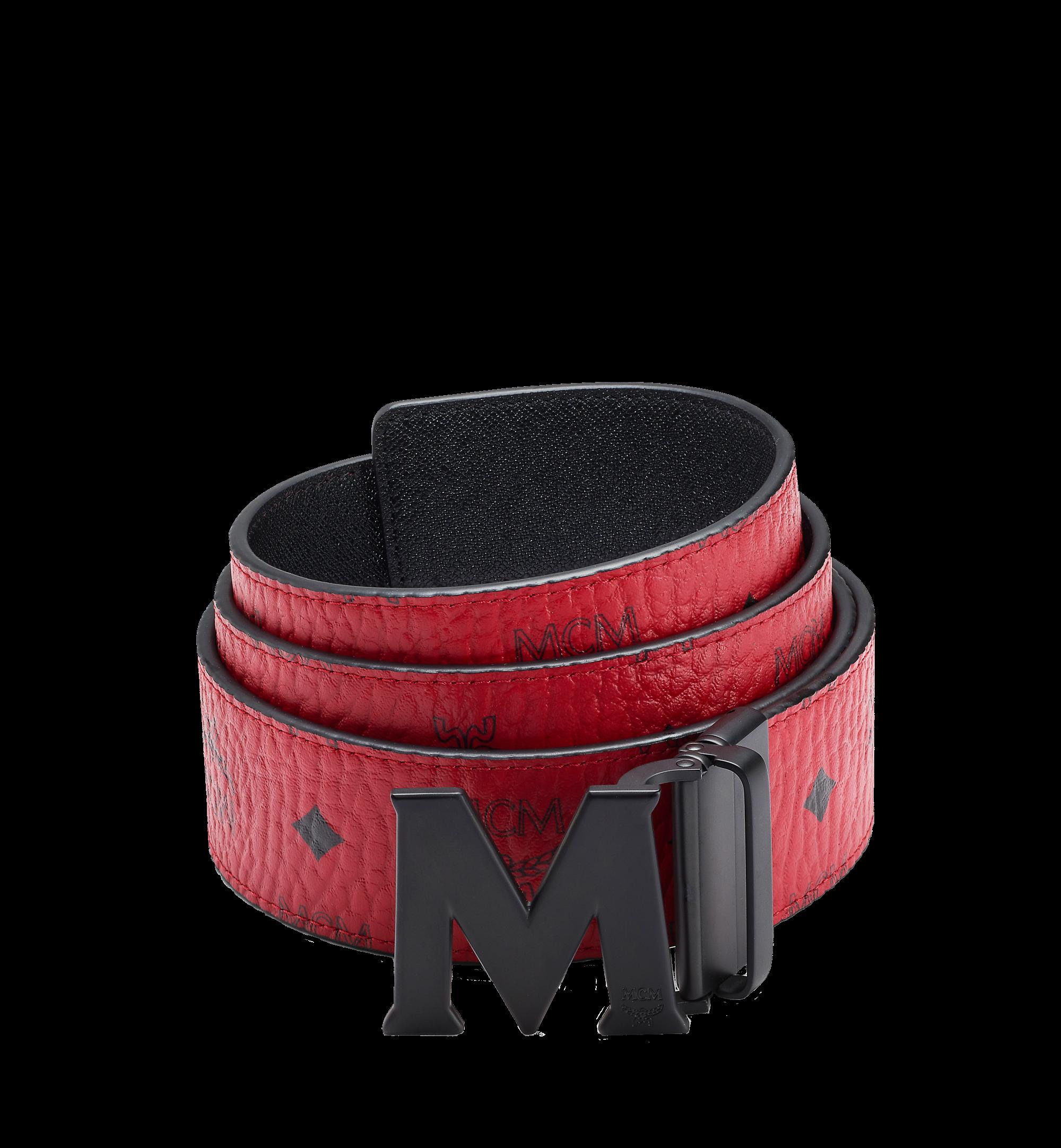 MCM Claus M Reversible Belt Visetos Matte Black-tone 1.75W 51In/130Cm Ruby Red