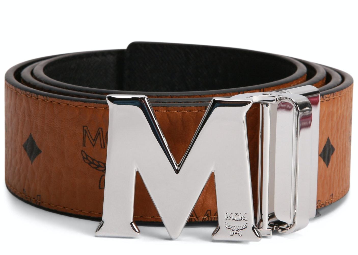 MCM Claus M Reversible Belt Visetos Silver Cobalt-tone 1.75W 51In/130Cm Cognac