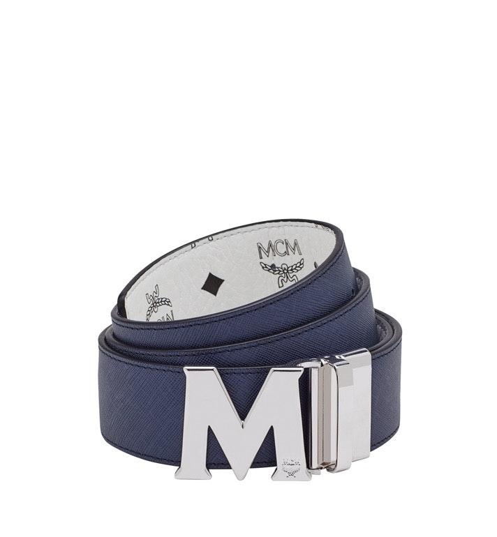 MCM Claus M Reversible Belt Visetos Silver-tone 1.75W 51In/130Cm White
