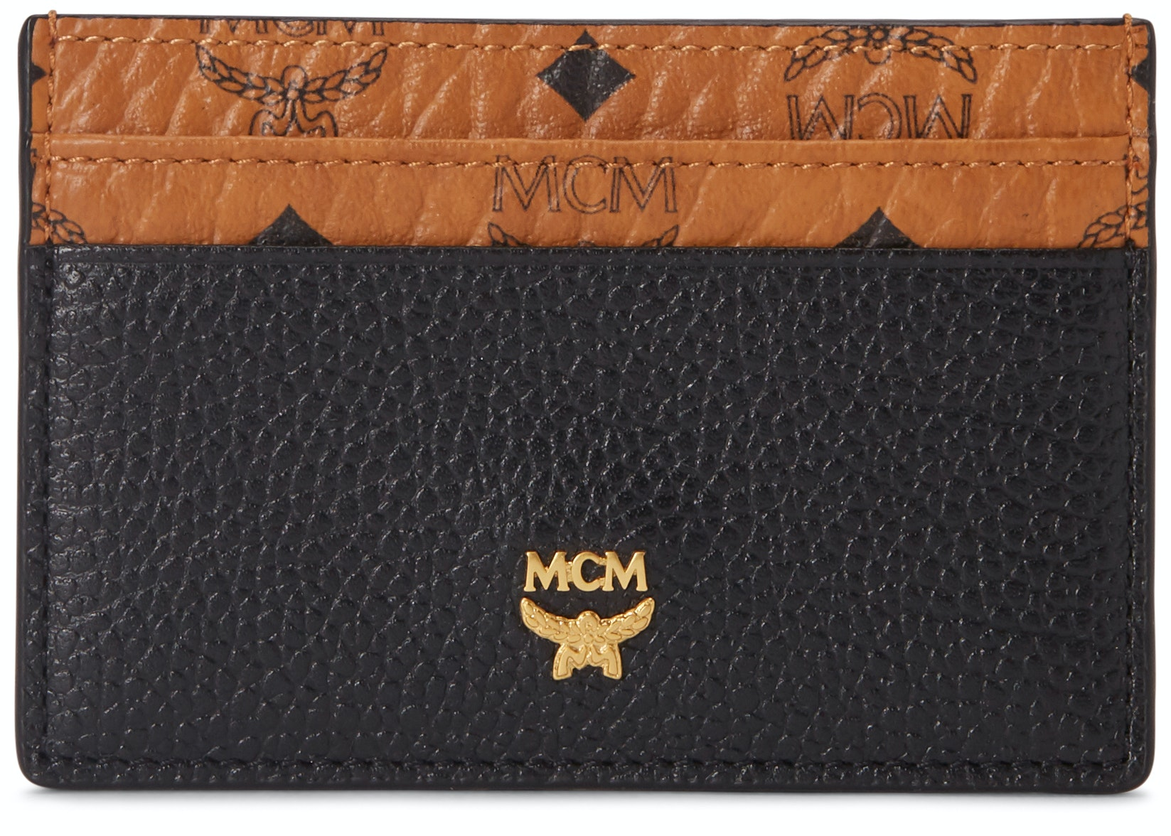 MCM Corina Card Case Visetos Black Leather Block Mini Cognac